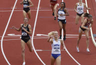 BYU's Anna Camp celebrates her win in the women's 1,500 meters during the NCAA Division I Outdoor Track and Field Championships, Saturday, June 12, 2021, at Hayward Field in Eugene, Ore. (AP Photo/Thomas Boyd)
