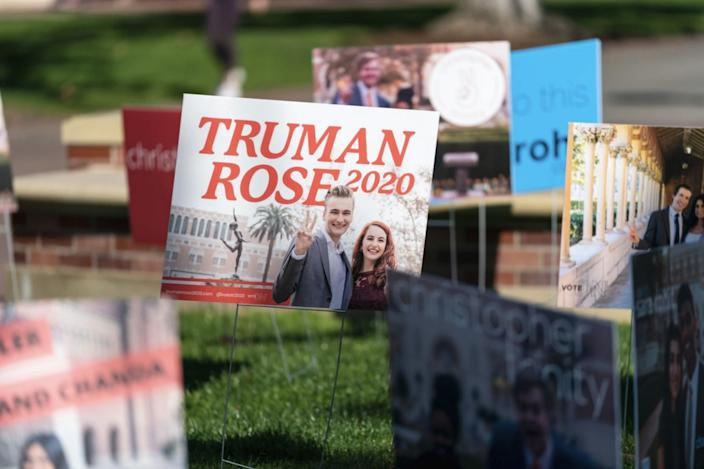 A campaign sign for USC student government candidates Truman Fritz and Rose Ritch.