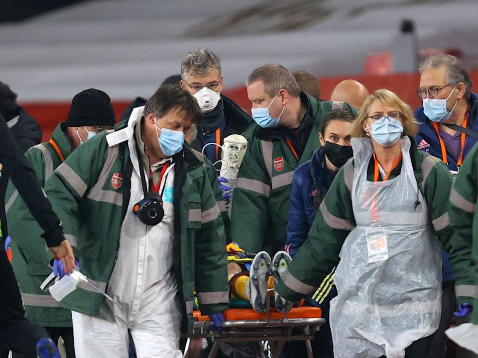 <p>Raul Jimenez was carried off the pitch on a stretcher</p> (Getty Images)