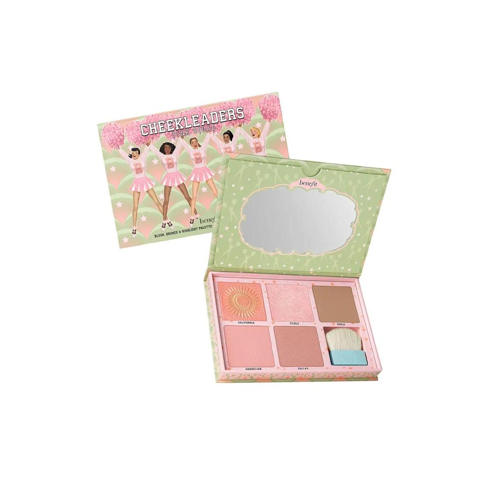 """<p><strong>Benefit Cosmetics</strong></p><p>benefitcosmetics.com</p><p><a href=""""https://go.redirectingat.com?id=74968X1596630&url=https%3A%2F%2Fwww.benefitcosmetics.com%2Fus%2Fen%2Fproduct%2Fcheekleaders-pink-squad-cheek-palette%23%26sku%3DTT662US&sref=https%3A%2F%2Fwww.marieclaire.com%2Fbeauty%2Fg33323791%2Fbenefit-sale-july-2020%2F"""" rel=""""nofollow noopener"""" target=""""_blank"""" data-ylk=""""slk:SHOP IT"""" class=""""link rapid-noclick-resp"""">SHOP IT </a></p><p><del>$60</del><strong><br>$36</strong></p><p>Packed with a highlighter, several blush shades, and Benefit's beloved Hoola bronze, you're just a few swipes away from faking that summer glow.</p>"""