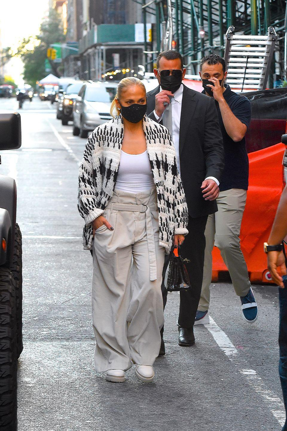 J.Lo Proves She's Ready for Fall in a Chunky Cardigan and Crystal Face Mask