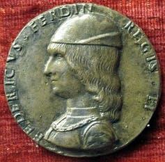 A coin bearing the image of Federico d'Aragona