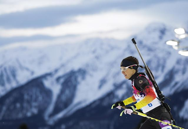 FILE - The Feb. 9, 2014 file photo shows Germany's Evi Sachenbacher-Stehle competing in the women's biathlon 7.5k sprint, at the 2014 Winter Olympics in Krasnaya Polyana, Russia. Sachenbacher-Stehle was tested positive on banned substances during the 2014 Sochi Olympic Games. (AP Photo/Felipe Dana)
