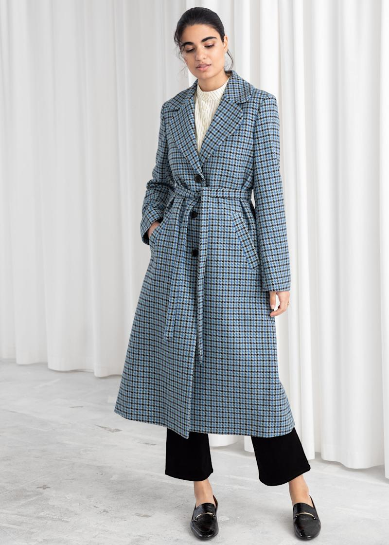 & Other Stories Houndstooth A-Line Belted Coat (Credit: & Other Stories)
