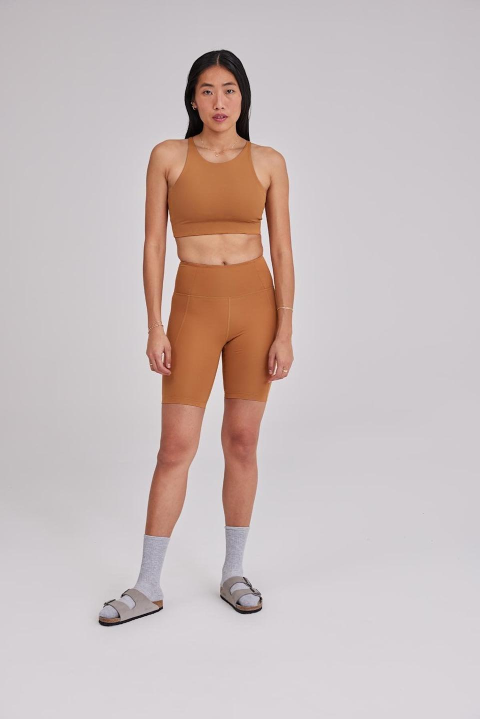 <p>Spring is coming, and we plan on wearing the <span>Girlfriend Collective High-Rise Bike Short</span> ($48) and <span>Topanga Bra</span> ($38) to celebrate.</p>