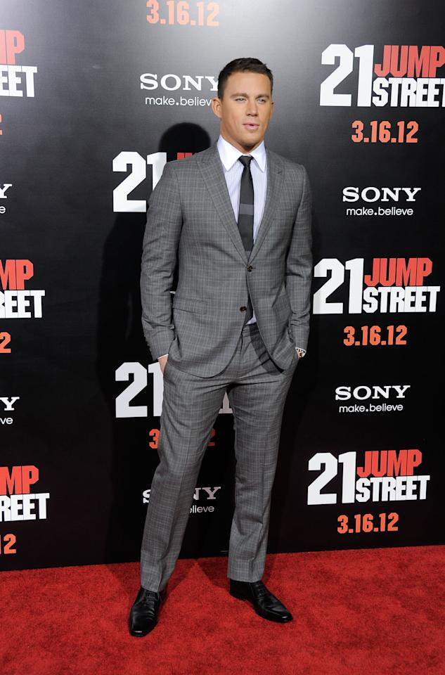 """HOLLYWOOD, CA - MARCH 13:  Actor Channing Tatum arrives at the Premiere Of Columbia Pictures' """"21 Jump Street"""" at Grauman's Chinese Theatre on March 13, 2012 in Hollywood, California.  (Photo by Frazer Harrison/Getty Images)"""