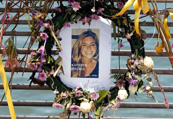 PHOTO: Flowers and a portrait of Kate Steinle are displayed at a memorial site on Pier 14 on July 17, 2015, in San Francisco, Calif. (Paul Chinn/San Francisco Chronicle/AP)