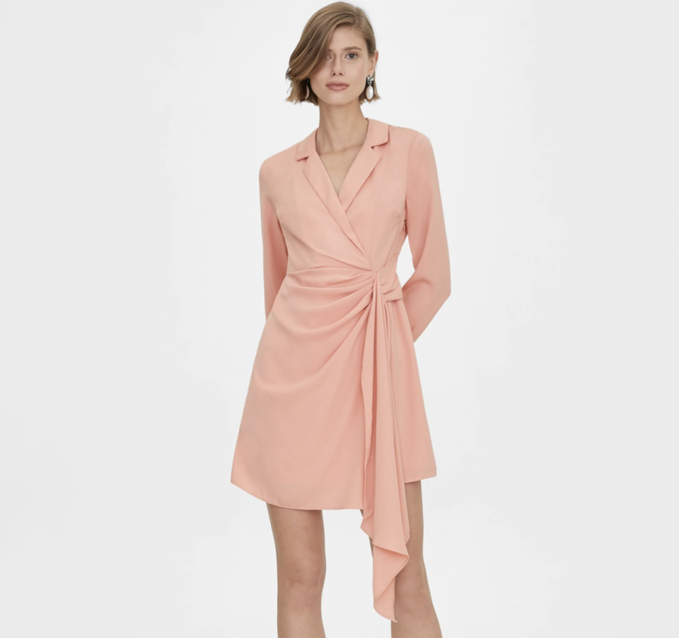 Side Draped Wrap Dress - Pink. (PHOTO: Pomelo)