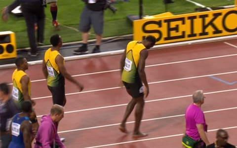 Bolt dejected after the 4x100m