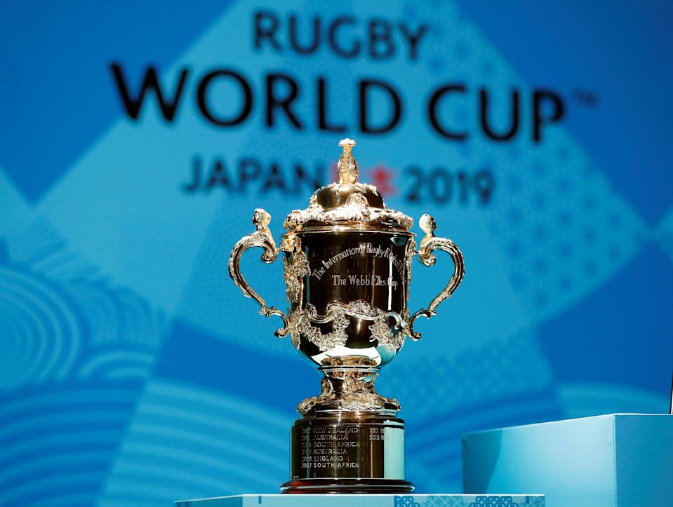 The Webb Ellis Cup is displayed during a kick-off event to mark one year to go to the Rugby World Cup 2019, in Tokyo, Japan September 20, 2018. REUTERS/Issei Kato