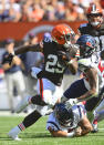 Cleveland Browns running back Demetric Felton (25) runs for a 33-yard touchdown after a pass during the second half of an NFL football game against the Houston Texans, Sunday, Sept. 19, 2021, in Cleveland. (AP Photo/David Richard)