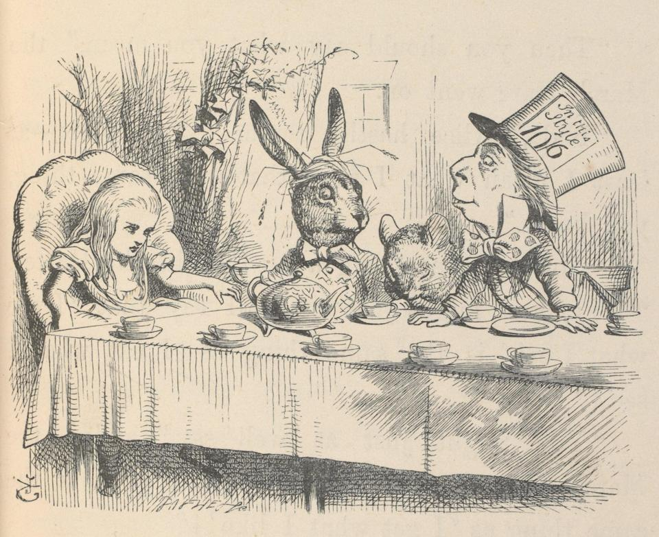 <p>Alice at the Mad Hatter's Tea Party, Illustration for Alice's Adventures in Wonderland by John Tenniel, 1865</p> ( (c) Victoria and Albert Museum, London)