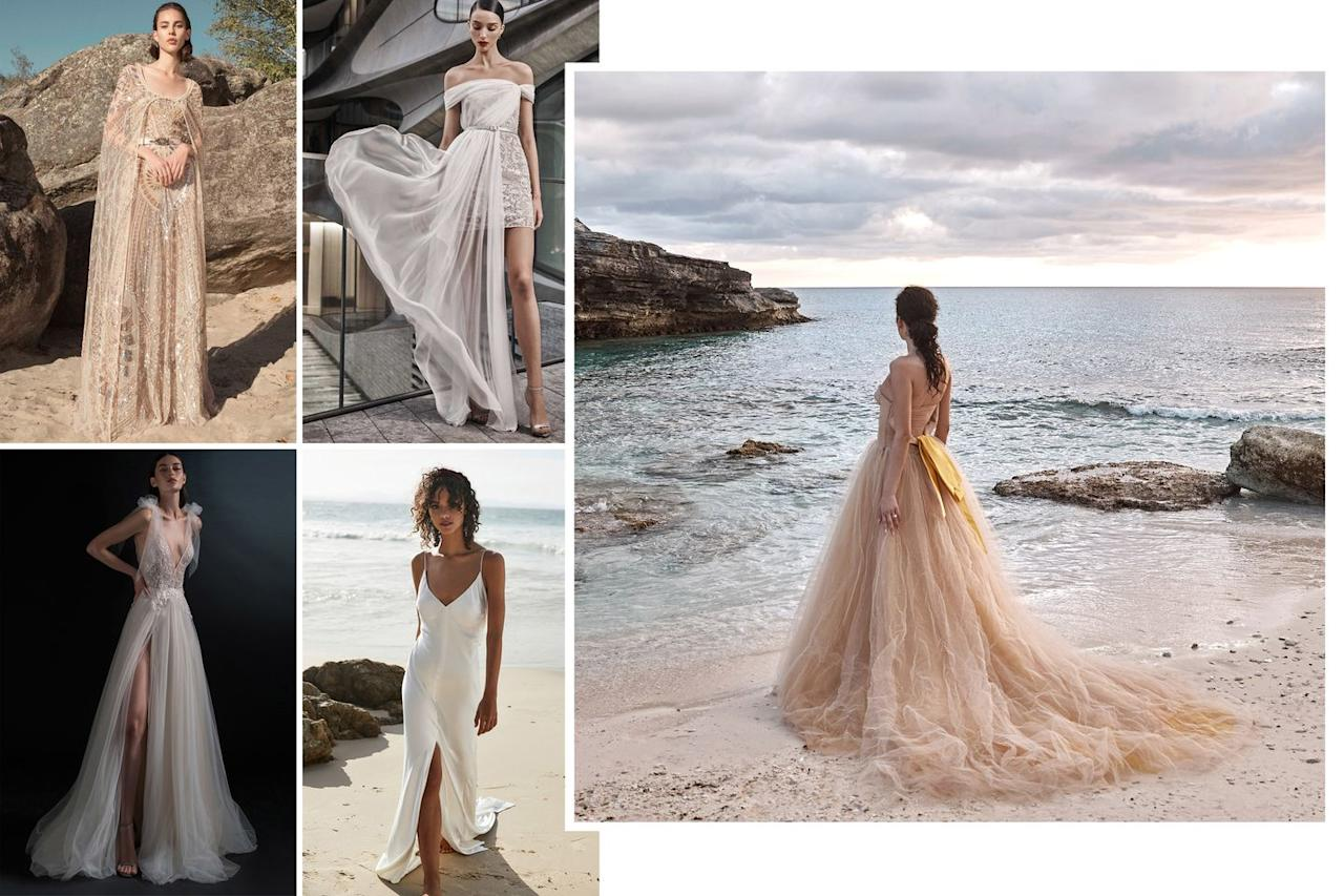 """<p>An archetype long associated with gauzy fabrics, easy silhouettes, and breezy effortlessness, the beach bride should look to delicate appliqués, fine laces, sexy slips and sultry slits and shorter lengths (it is the beach, after all).</p><p>For this season's ceremony on the shore, opt for something outside- the-box when you consider how to infuse bohemia into your bridal wardrobe, be it with a point d'esprit lace rather than a formal Chantilly, or a thigh-high slit.</p><p><em>From top left: <em>Zuhair Murad Spring 2019 Ready-to-Wear; </em>Naeem Khan Bridal Fall 2019; Inbal Dror Bridal Spring 2019 Bridal; ; One Day Bridal; Vera Wang Bride """"Verushka"""" gown. </em></p>"""