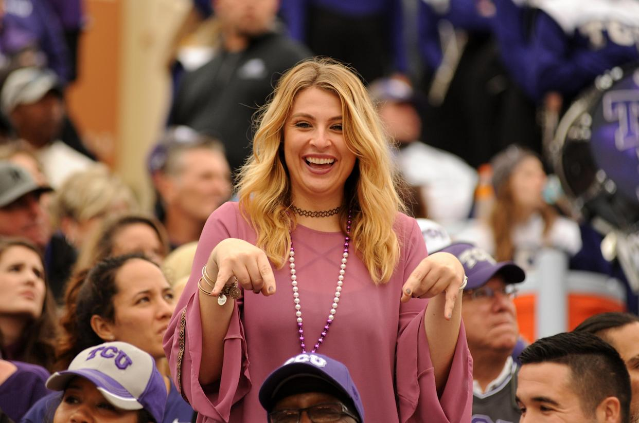 AUSTIN, TX - NOVEMBER 25: A TCU Horned Frogs fan gives the 'horns down' sign during NCAA game featuring the Texas Longhorns and the TCU Horned Frogs on November 25, 2016 at Darrell K. Royal - Texas Memorial Stadium in Austin, TX. The TCU Horned Frogs defeated the Texas Longhorns 31 - 9. (Photo by John Rivera/Icon Sportswire via Getty Images)