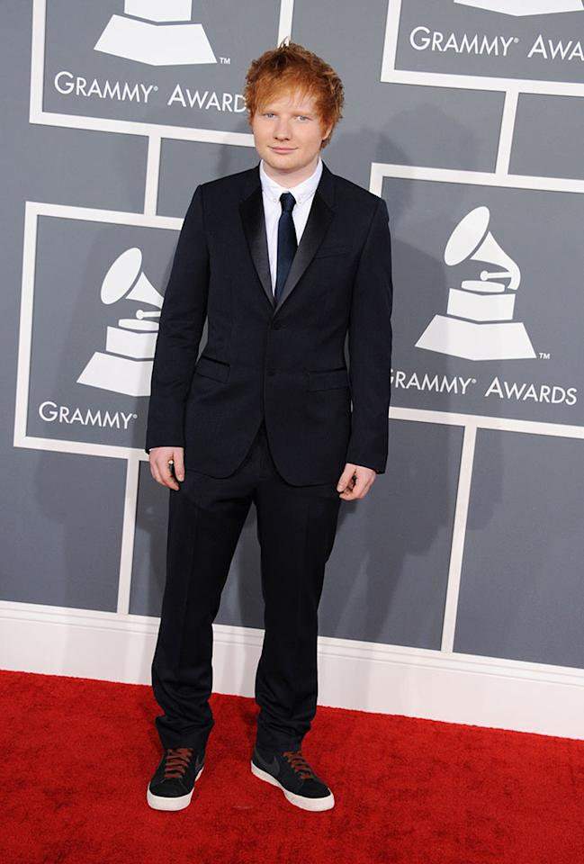 Ed Sheeran arrives at the 55th Annual Grammy Awards at the Staples Center in Los Angeles, CA on February 10, 2013.