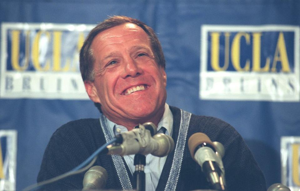 UCLA football coach Terry Donahue announces he will be leaving coaching in December 1995.