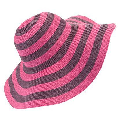 Pink and Grey Striped Floppy Hat New Look: Beach