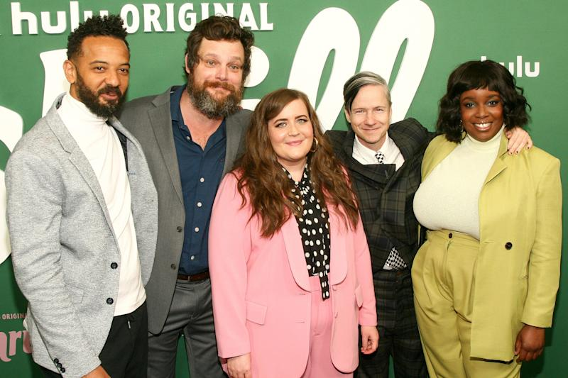 "Ian Owens, from left, Luka Jones, Aidy Bryant, John Cameron Mitchell and Lolly Adefope attends the premiere of Hulu's ""Shrill"" at the Walter Reade Theater on Wednesday, March 13, 2019, in New York. (Photo by Andy Kropa/Invision/AP)"
