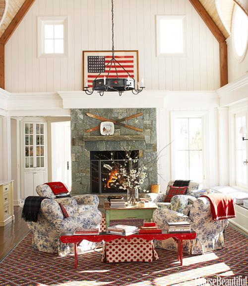 """<div class=""""caption-credit""""> Photo by: Maura McEvoy</div><div class=""""caption-title"""">Rustic Americana</div><p> In designer Chipper Joseph's Idaho house, designed by architects Glenn Arbonies and Sandra Vlock of Arbonies King Vlock, red, white, and blue is a recurring color theme. """"We wanted American, but not cutesy,"""" he says. The informal seating area of the living room has four Pottery Barn club chairs slipcovered in On Point by Brunschwig & Fils. Pottery Barn ottomans in Washington by Nya Nordiska. The 48-star flag, red bench, and antique skis above the mantel are from Joseph's collection. </p> <p> <b>See more:</b> </p> <p> <a rel=""""nofollow noopener"""" href=""""http://www.housebeautiful.com/shopping/best/4th-of-july-entertaining-ideas?link=emb&dom=yah_life&src=syn&con=blog_housebeautiful&mag=hbu"""" target=""""_blank"""" data-ylk=""""slk:11 Chic Finds for 4th of July Party"""" class=""""link rapid-noclick-resp""""><b>11 Chic Finds for 4th of July Party</b></a> <br> <br> <a rel=""""nofollow noopener"""" href=""""http://www.housebeautiful.com/decorating/home-makeovers/summer-home-decorating-ideas?link=emb&dom=yah_life&src=syn&con=blog_housebeautiful&mag=hbu"""" target=""""_blank"""" data-ylk=""""slk:50+ Easy Summer Decorating Ideas"""" class=""""link rapid-noclick-resp""""><b>50+ Easy Summer Decorating Ideas</b></a> </p>"""