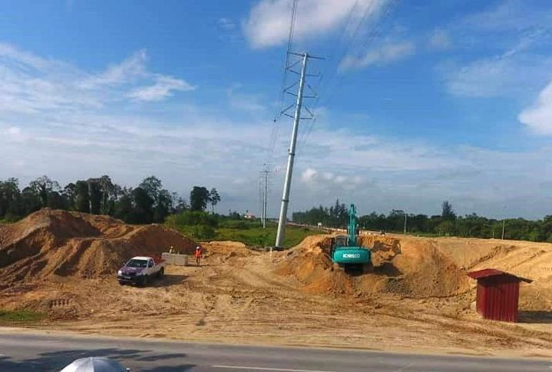 Sarawak Energy Berhad's (SEB) transmission tower found to have been slanted caused by the Pan Borneo highway construction works, September 9, 2018. — Picture courtesy of SEB