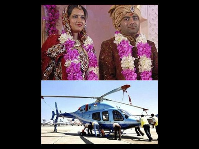 <b>Tanwar Wedding<br> Cost: 250 crore approx</b><br> Congress Minister Kanwar Singh Tanwar's son, Lalit's wedding to Yogita Jaunapuria took place in 2011 in Delhi. Lalit received a Bell 429 helicopter as a gift from his in-laws. A whopping 21 crore was spent only on the tikka ceremony for the groom's family.