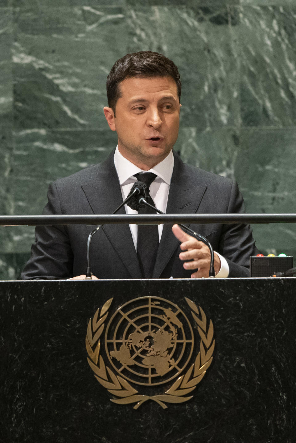 Ukraine President Volodymyr Zelenskiy speaks during the 76th session of the United Nations General Assembly, Wednesday, Sept. 22, 2021, at UN headquarters. (Eduardo Munoz/Pool Photo via AP)