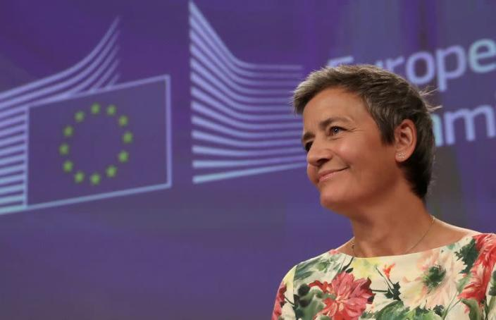 FILE PHOTO: European Competition Commissioner Margrethe Vestager addresses a news conference on an antitrust case in Brussels