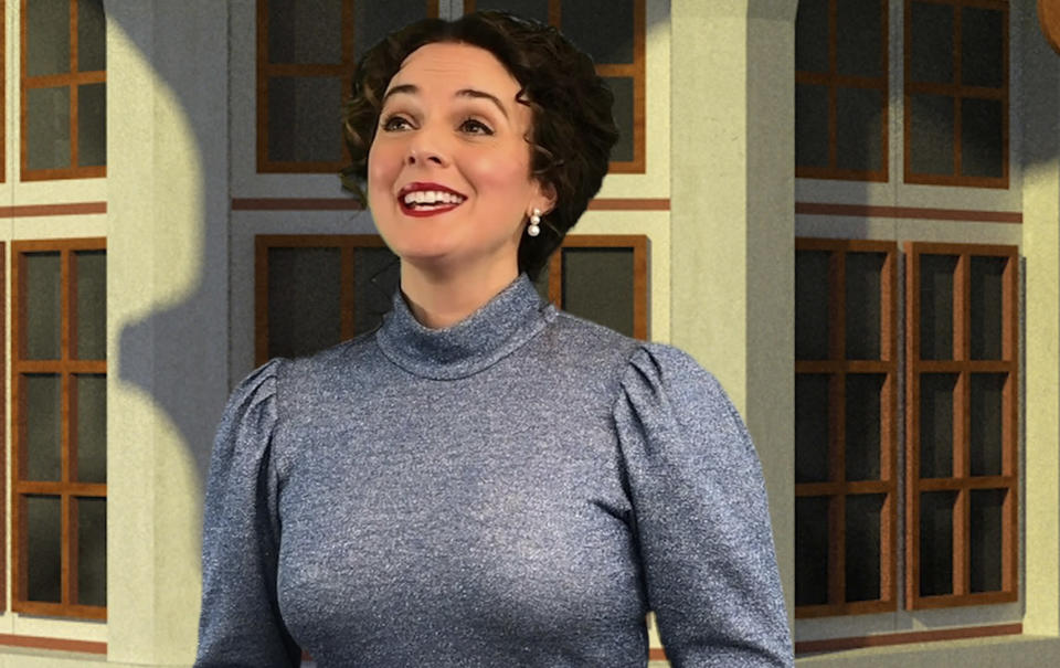 "This image released by The Irish Repertory Theatre shows Melissa Errico during a performance of ""Meet Me in St. Louis."" Charlotte Moore, the artistic director and co-founder of the acclaimed Irish Repertory Theatre in New York City, has put on a free streaming of the holiday production with a dozen cast members, each filmed remotely and then digitally stitched together. (Muireann Lalor/The Irish Repertory Theatre via AP)"