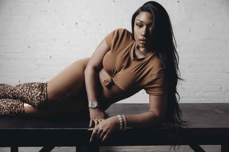 """FILE - This Nov. 20, 2019, file photo shows Megan Thee Stallion during a portrait session in New York. The singer says she works extremely hard in the studio when it comes to writing music, so when she almost couldn't release her new album due to drama with her record label, she was anxious and uneasy. """"I was super-nervous,"""" she said in an interview with The Associated Press this week after a Houston judge ordered the Friday, March 6, 2020, release of her album as her bitter court battle with her label continues.(Photo by Victoria Will/Invision/AP, File)"""