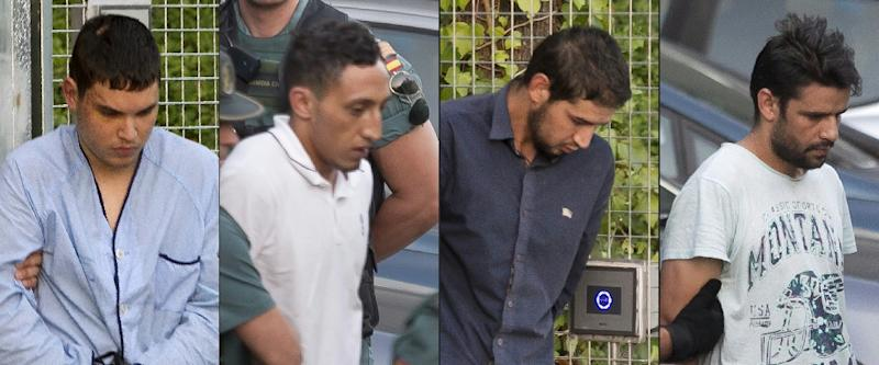 Mohamed Houli Chemlal, Driss Oukabir, Salah El Karib and Mohamed Aallaa were all charged with terrorism offences (AFP Photo/STRINGER)