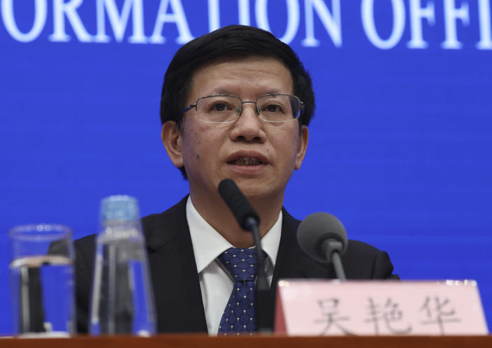 Wu Yanhua, deputy director of the national space agency, speaks during a press conference held in Beijing, China, Monday, Jan. 14, 2019. Wu said Monday that NASA shared information about its lunar orbiter satellite in hopes of monitoring the landing of the Chang'e 4 spacecraft, which made China the first country to set down on the far side of the moon earlier this month. (AP Photo/Ng Han Guan)