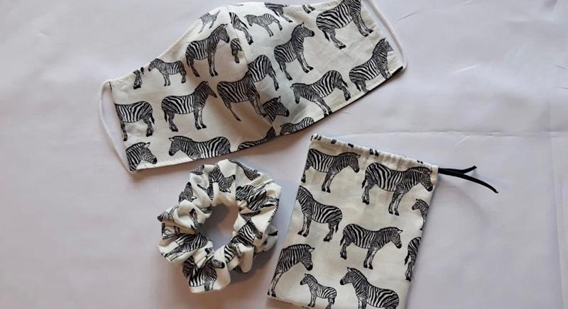 Matching zebra face mask, scrunchie and drawstring pouch