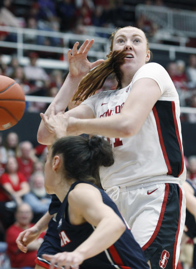 Stanford's Ashten Prechtel loses the ball as Gonzaga's Jenn Wirth defends during the first half of an NCAA college basketball game Sunday, Nov. 17, 2019, in Stanford, Calif. (AP Photo/George Nikitin)