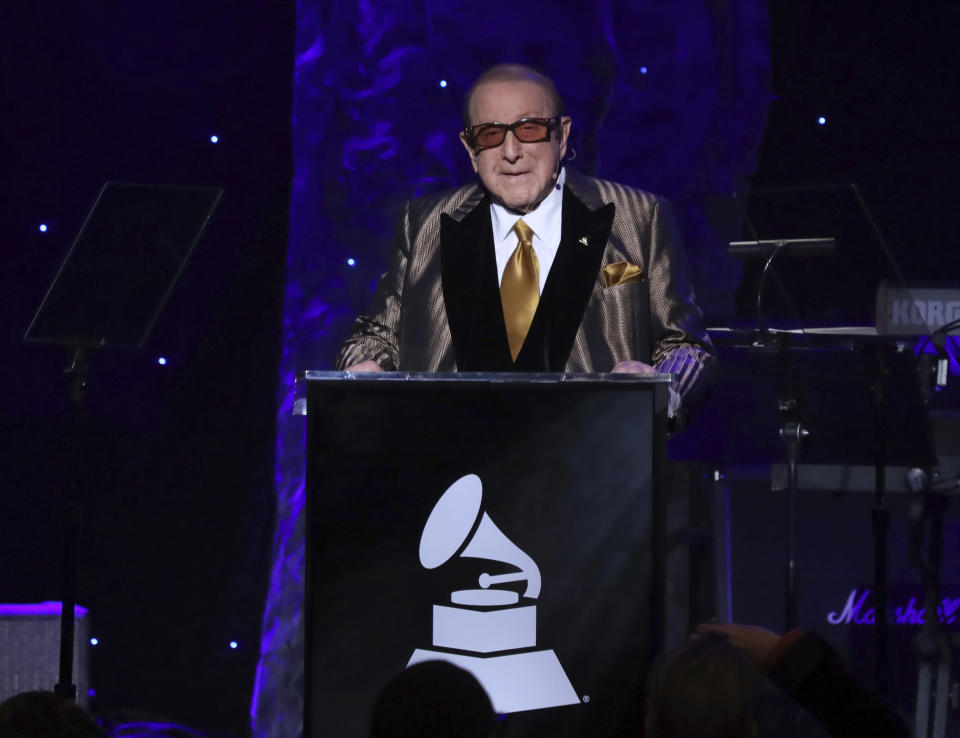 Clive Davis speaks on stage at the Pre-Grammy Gala And Salute To Industry Icons at the Beverly Hilton Hotel on Saturday, Jan. 25, 2020, in Beverly Hills, Calif. (Photo by Willy Sanjuan/Invision/AP)
