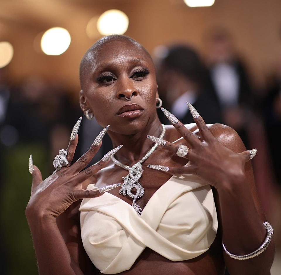 <p>Cynthia Erivo's Met Gala nails were truly epic. Each nail was encrusted with individual jewels, and if you look <em>really</em> closely, you'll see red and blue crystals added to the stiletto tips, making sure Erivo really nailed this year's theme.</p>
