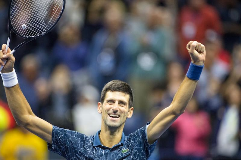Novak Djokovic of Serbia celebrates his victory against Juan Martin Del Potro of Argentina in the Men's Singles Final on Arthur Ashe Stadium at the 2018 U.S. Open Tennis Tournament at the USTA Billie Jean King National Tennis Center on September 9, 2018 in Flushing, Queens, New York City. | Tim Clayton—Corbis/Getty Images