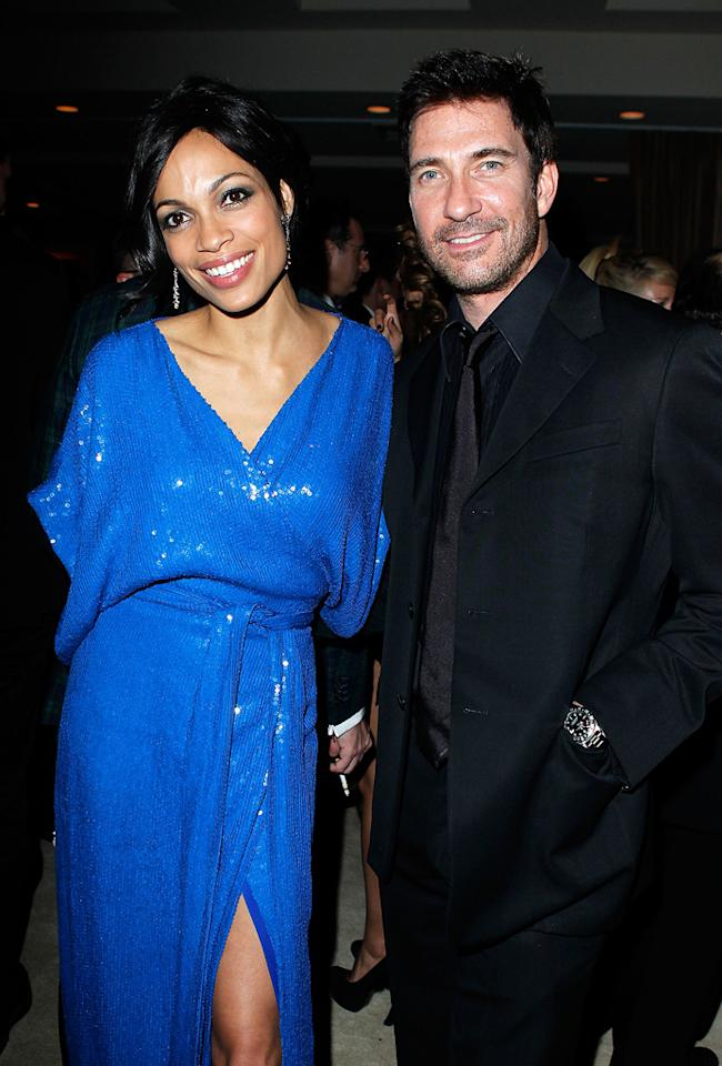 Rosario Dawson looked great in a blue sequined cocktail frock, and Dylan McDermott looked even greater in his black-on-black suit.