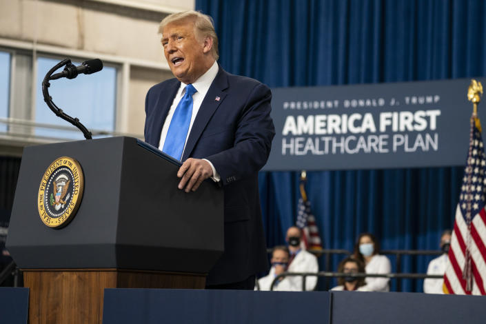 President Trump delivers remarks on health care in Charlotte, N.C., on Thursday. (Evan Vucci/AP)