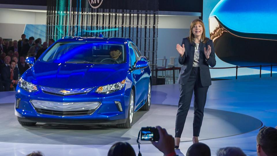 DETROIT, MI/USA - JANUARY 12, 2015: GM CEO Mary Barra / 2016 Chevrolet Volt reveal at the North American International Auto Show (NAIAS).