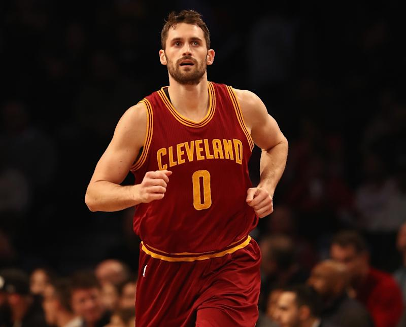 The Cleveland Cavaliers' Kevin Love is back in action after knee surgery in February