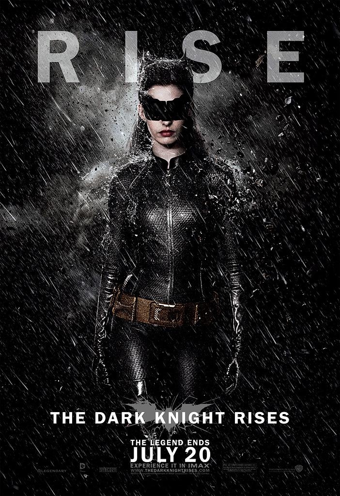 """Yahoo! Movies has your first look at three new character banners from """"The Dark Knight Rises,"""" the final chapter of director Christopher Nolan's Batman trilogy. Each banner shows one of the three lead characters -- Catwoman, Batman, and Bane -- facing the camera against an ominous sky as rain and debris fall down on them. Notably, each figure has their eyes hidden in shadow, giving them an impenetrable air of mystery. If the eyes are the windows to the soul, what does it mean that we can't see theirs? It gives the impression that the battle for Gotham City could come with a cost: either their lives, or their very humanity.<br><br> This poster featuring Anne Hathaway as Selina Kyle gives one of the best looks yet at her catsuit. You can see the textured fabric, her belt (which looks not too dissimilar to Batman's utility belt), and the goggles that hide her face and give the appearance of cat's ears on her head. Click through to see more of the newly revealed banners."""