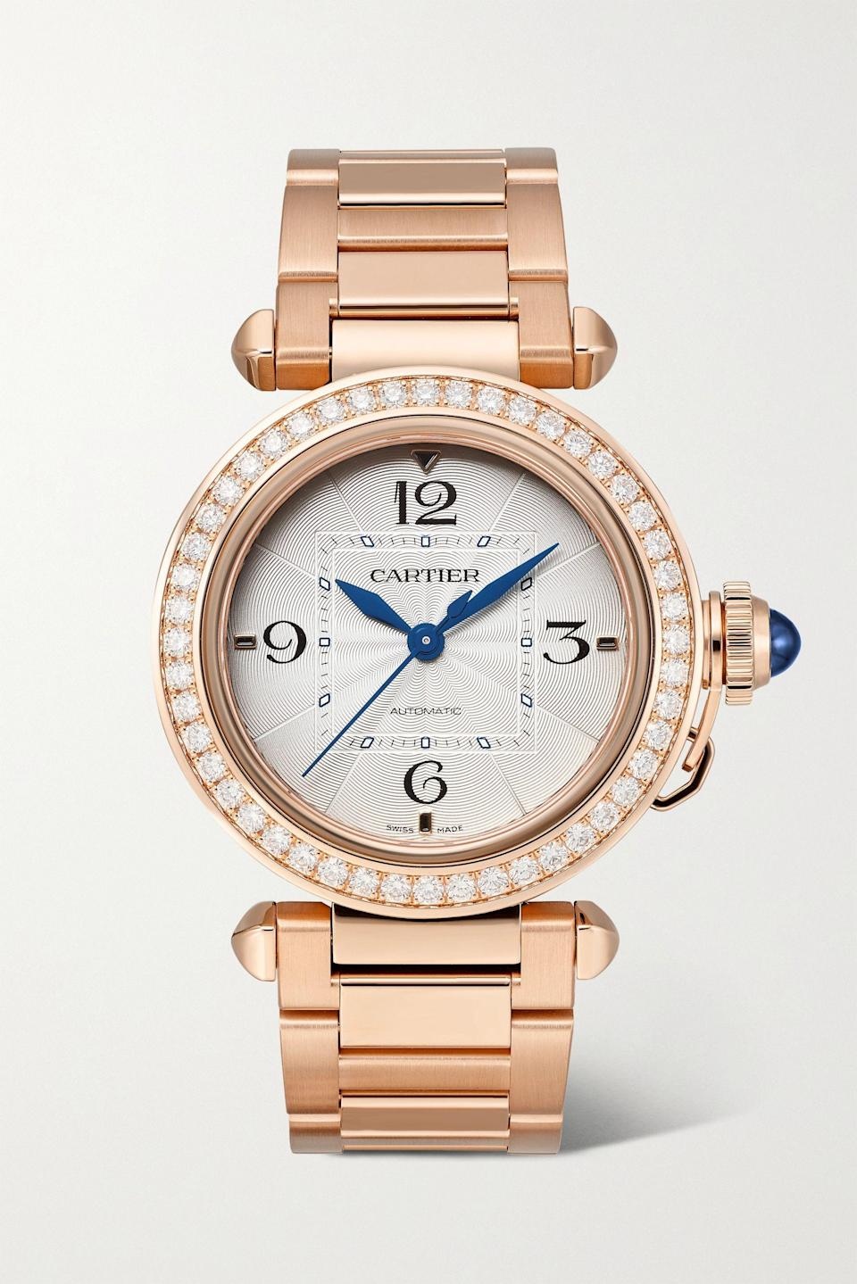 "<p><strong>Cartier</strong></p><p>net-a-porter.com</p><p><strong>$38500.00</strong></p><p><a href=""https://go.redirectingat.com?id=74968X1596630&url=https%3A%2F%2Fwww.net-a-porter.com%2Fen-us%2Fshop%2Fproduct%2Fcartier%2Fpasha-de-cartier-automatic-35mm-18-karat-rose-gold-alligator-and-diamond-watch%2F1308894&sref=https%3A%2F%2Fwww.harpersbazaar.com%2Ffashion%2Ftrends%2Fg36005306%2Fsummer-2021-jewelry-trends%2F"" rel=""nofollow noopener"" target=""_blank"" data-ylk=""slk:Shop Now"" class=""link rapid-noclick-resp"">Shop Now</a></p><p>Time well spent. </p>"
