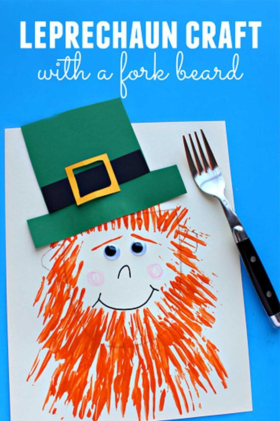 """<p>Your little ones can easily use a fork to recreate this <a href=""""https://www.womansday.com/relationships/family-friends/a54141/dad-turns-6-month-old-son-into-a-leprechaun/"""" rel=""""nofollow noopener"""" target=""""_blank"""" data-ylk=""""slk:leprechaun craft"""" class=""""link rapid-noclick-resp"""">leprechaun craft</a>.</p><p><em>Get the tutorial at <a href=""""http://www.craftymorning.com/leprechaun-craft-with-a-fork-print-beard/"""" rel=""""nofollow noopener"""" target=""""_blank"""" data-ylk=""""slk:Crafty Morning"""" class=""""link rapid-noclick-resp"""">Crafty Morning</a>.</em> </p>"""