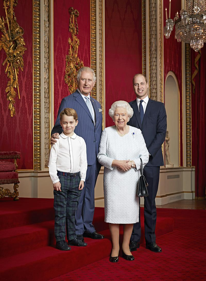 Prince George, Prince William Prince Charles and Queen Elizabeth pose for a photo together