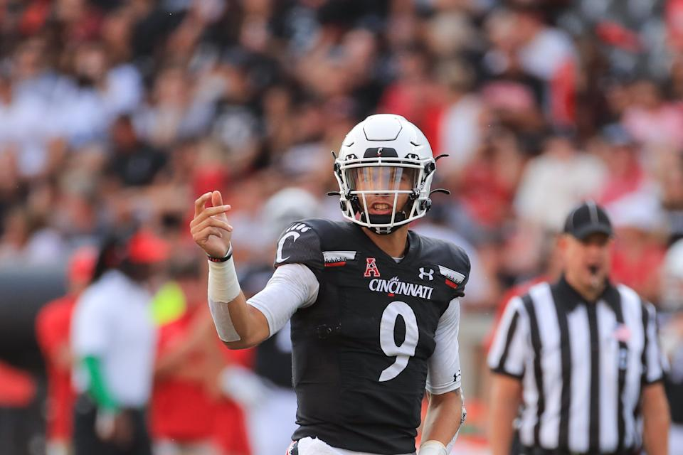 Cincinnati quarterback Desmond Ridder could make some money with a big showing at Indiana. (Photo by Ian Johnson/Icon Sportswire via Getty Images)