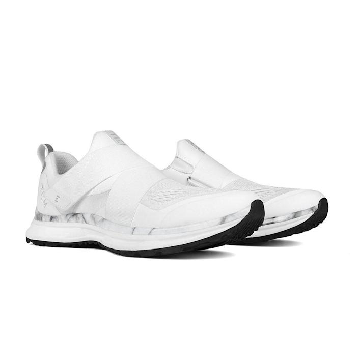 """<p><strong>Tiem Athletic</strong></p><p>tiemathletic.com</p><p><strong>$130.00</strong></p><p><a href=""""https://www.tiemathletic.com/collections/cycling/products/slipstream-white-marble"""" rel=""""nofollow noopener"""" target=""""_blank"""" data-ylk=""""slk:Shop Now"""" class=""""link rapid-noclick-resp"""">Shop Now</a></p><p>If you want a Spin shoe that looks identical to your favorite walking shoe, this is it. This slip-on style is ideal for someone who travels to and from cycling classes often and doesn't want to lug around an extra pair of shoes. The downside? They'll transfer less power than stiffer alternatives and are only compatible with SPD cleats.</p>"""