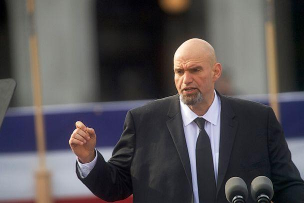 PHOTO: Lieutenant Governor John Fetterman delivers an introduction for Governor Tom Wolf during an inaugural ceremony in Harrisburg, Penn., Jan. 15, 2019. (Mark Makela/Getty Images, FILE)