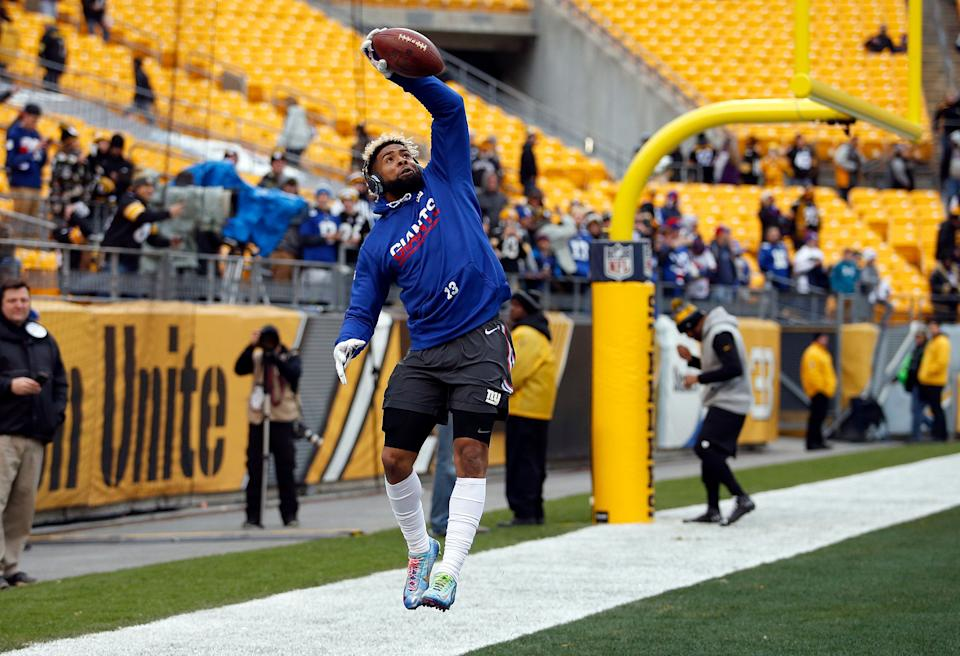 PITTSBURGH, PA - DECEMBER 04:  Odell Beckham #13 of the New York Giants in action against the Pittsburgh Steelers at Heinz Field on December 4, 2016 in Pittsburgh, Pennsylvania.  (Photo by Justin K. Aller/Getty Images)