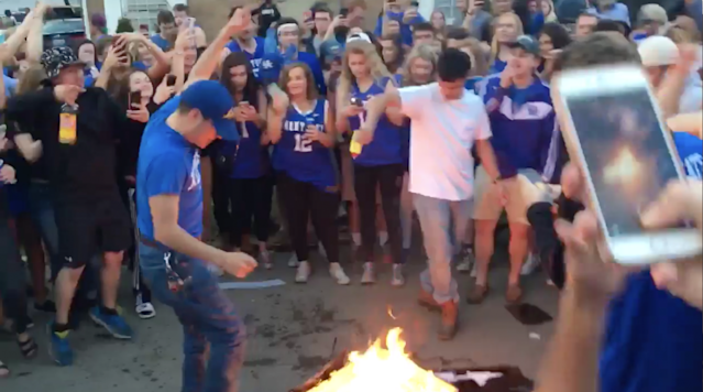 """<p>Kentucky fans were understandably upset after the Wildcats' dramatic loss to North Carolina in the Elite Eight. While freshman guard De'Aaron Fox <a href=""""http://www.si.com/college-basketball/2017/03/26/kentucky-deaaron-fox-locker-room-cry-video"""" rel=""""nofollow noopener"""" target=""""_blank"""" data-ylk=""""slk:dealt with his emotions in a healthy way"""" class=""""link rapid-noclick-resp"""">dealt with his emotions in a healthy way</a>, fans gathered in Lexington didn't handle the defeat so well. </p><p>The <em>Lexington Herald-Leader </em>exhaustively documented the aftermath, which was basically just a bunch of college kids burning stuff. What follows is a list of items set ablaze by idiots on the street, or at least a partial list. Surely some arson occurred away from the <em>Herald-Leader</em>'s watchful eye. (Be warned that most of the videos contain the same profane chant about the Tar Heels.) </p><p>Maybe a box</p><p>A TV</p><p>A T-shirt</p><p>• <a href=""""http://www.si.com/extra-mustard/2017/03/26/north-carolina-kentucky-columbus-cbs-10tv-fail"""" rel=""""nofollow noopener"""" target=""""_blank"""" data-ylk=""""slk:Viewers in Ohio missed the end of UNC-Kentucky because the TV feed suddenly failed"""" class=""""link rapid-noclick-resp""""><strong>Viewers in Ohio missed the end of UNC-Kentucky because the TV feed suddenly failed</strong></a> </p><p>A whole bunch of random crap</p><p>The traditional couch</p><p>The fires don't just break out when Kentucky loses, either. Fans set stuff aflame <a href=""""https://www.youtube.com/watch?v=ZXTxDIsxAYs&feature=youtu.be"""" rel=""""nofollow noopener"""" target=""""_blank"""" data-ylk=""""slk:after the Wildcats' win over UCLA"""" class=""""link rapid-noclick-resp"""">after the Wildcats' win over UCLA</a>, too. </p>"""