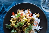 "Faster! Faster! Skip the pickling and just top the curry with sliced fresh Fresno chiles. Or leave them out altogether if you're spice-averse. <a href=""https://www.bonappetit.com/recipe/vadouvan-roasted-cauliflower-harissa-chickpea-curry?mbid=synd_yahoo_rss"" rel=""nofollow noopener"" target=""_blank"" data-ylk=""slk:See recipe."" class=""link rapid-noclick-resp"">See recipe.</a>"